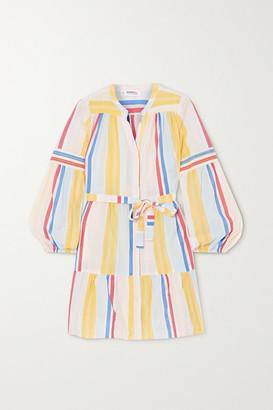 Lemlem + Net Sustain Jima Belted Tiered Striped Woven Mini Dress - Yellow