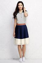Classic Women's Petite Pleated A-line Skirt-Celestial Blue Colorblock