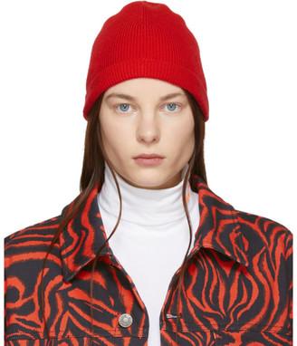 Calvin Klein Red Ribbed Beanie