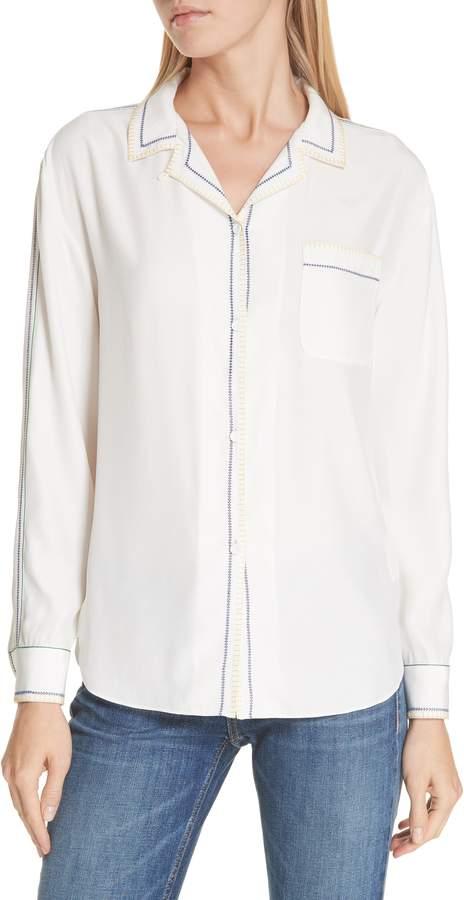 Rag & Bone Anika Embroidered Silk Pajama Blouse