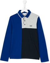 Boss Kids tonal longsleeved polo shirt