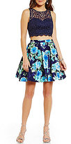 Sequin Hearts Illusion Lace Tank Top To Floral-Print Party Skirt Two-Piece Dress