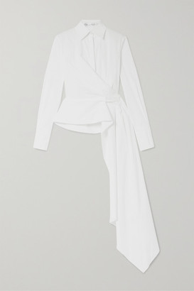 Oscar de la Renta Draped Cotton-blend Poplin Wrap Shirt - White