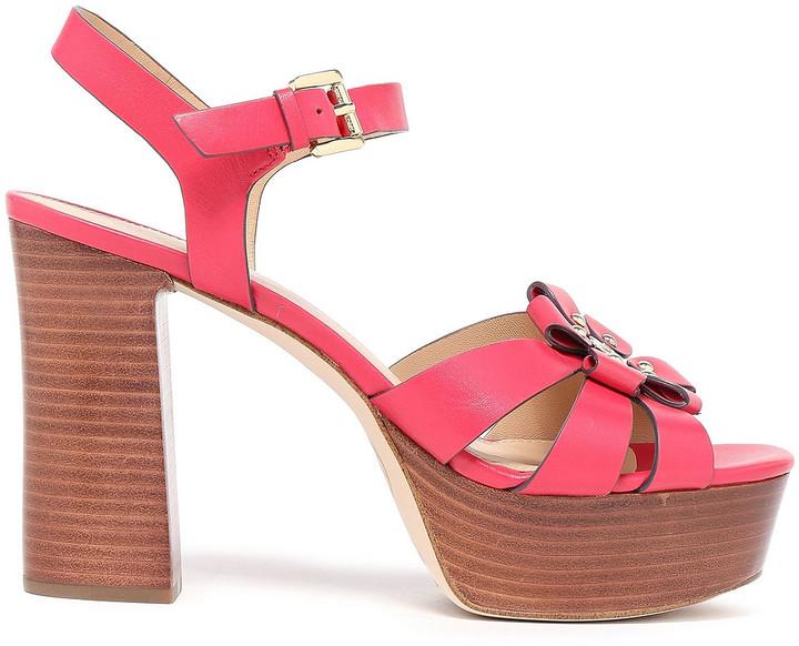 MICHAEL Michael Kors Floral-appliqued Leather Platform Sandals