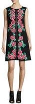 Nanette Lepore Sleeveless Embroidered Shift Dress, Black
