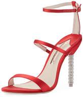 Sophia Webster Rosalind Satin Sphere-Heel Sandal, Red