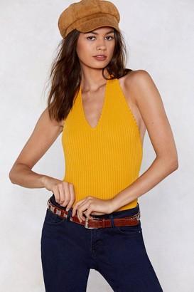 Nasty Gal Womens V-Neckline and Open Back Halter Bodysuit - Mustard
