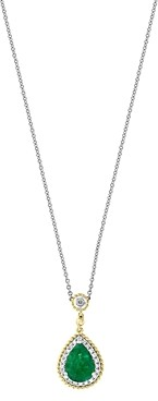 Bloomingdale's Emerald & Diamond Beaded Teardrop Pendant Necklace in 14K Yellow & White Gold - 100% Exclusive