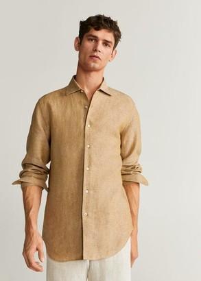MANGO MAN - 100% linen slim fit shirt white - XS - Men