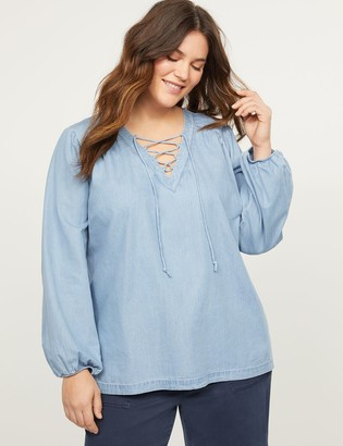 Lane Bryant Chambray Lace-Up Peasant Top