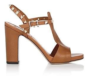 Valentino Women's Rockstud Leather T-Strap Sandals-Cognac