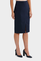 Basque Navy Circle Jacquard Split Front Pencil Suit Skirt