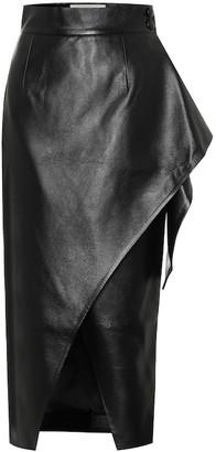 Matã©Riel Tbilisi Faux-leather wrap skirt