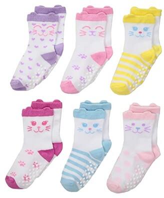 Jefferies Socks Non-Skid Cat Socks 6-Pack (Infant/Toddler) (Multi) Girls Shoes