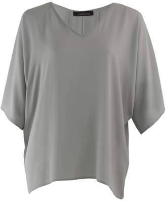Me&Thee Chalk And Cheese Putty Georgette V Neck Top
