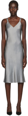 Helmut Lang Grey Satin Double Strap Slip Dress