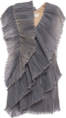 Lanvin Draped Plisse-organza Mini Dress