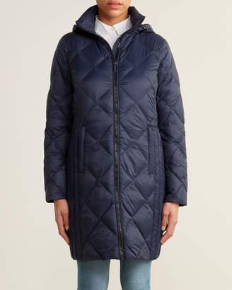 MICHAEL Michael Kors True Navy 3/4 Diamond Quilt Packable Down Jacket