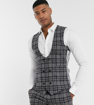 Twisted Tailor TALL suit vest in gray check
