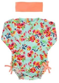 RuffleButts Baby Girl's Long Sleeve Rash Guard Swimsuit Swim Headband Set
