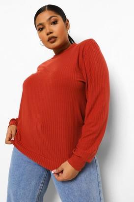 boohoo Plus Soft Rib Shoulder Pad Sweater