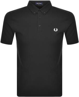 Fred Perry Button Down Polo T Shirt Black
