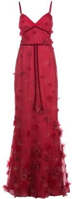 Marchesa Floral Detail Evening Dress