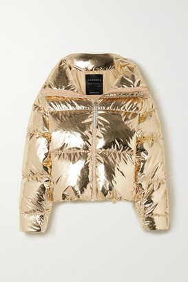Cordova Mont Blanc Hooded Metallic Quilted Down Ski Jacket - Gold