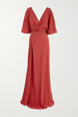 Cortana Martina Draped Silk Maxi Dress - Claret