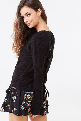 Forever 21 Ribbed Lace-Up Sweater