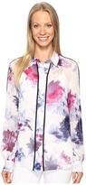 Ellen Tracy Piped Button Front Blouse Women's Blouse