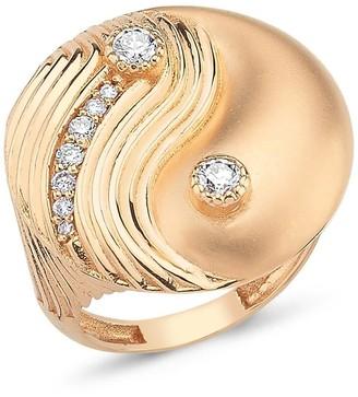 Yin & Yang Yin Yang Ring With White Diamonds