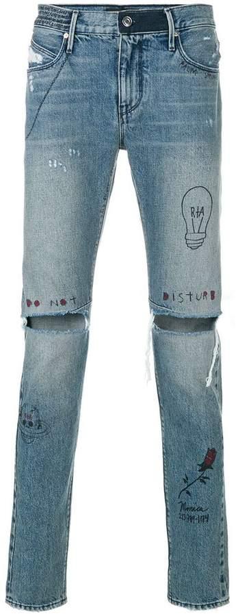 RtA distressed drawn on jeans