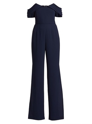 ML Monique Lhuillier Crepe Off-The-Shoulder Jumpsuit