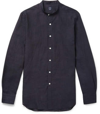 Beams Grandad-Collar Linen Shirt