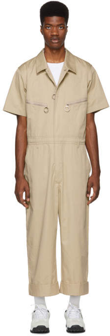 Burberry Beige Cotton Twill Zipped Overalls