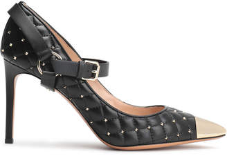 Valentino Garavani Studded Quilted Leather Mary Jane Pumps