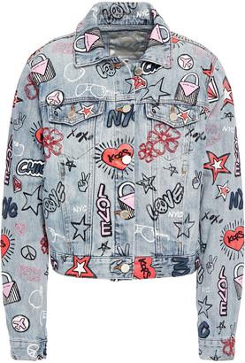 MICHAEL Michael Kors Embroidered Printed Denim Jacket