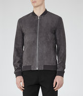 Reiss Reiss Basse - Suede Bomber Jacket In Grey