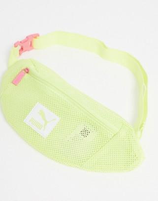 Puma mesh waist bag in lime