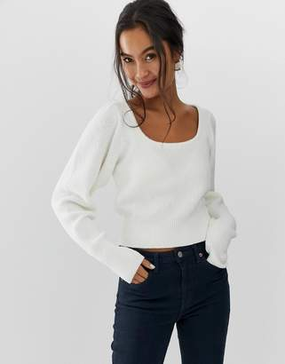 Asos Design DESIGN chunky scoop neck jumper with full sleeve-Cream