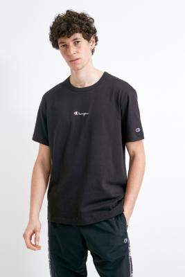 Champion UO Exclusive Small Script Black T-Shirt - black S at Urban Outfitters