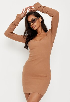 Missguided Tall Camel Rib Long Sleeve Mini Dress