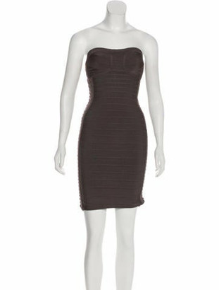 Herve Leger Strapless Knee-Length Dress Grey