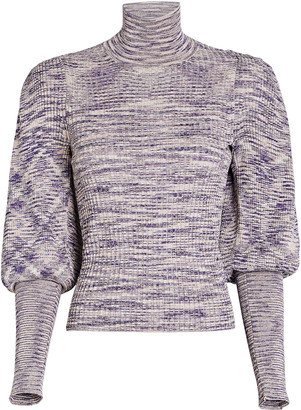 Ulla Johnson Josie Puff Sleeve Rib Knit Turtleneck