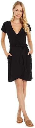 Pact Organic Cotton Wrap Dress (Black) Women's Dress