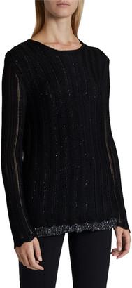 Saint Laurent Metallic Vertical-Striped Sweater