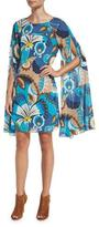 Trina Turk Sleeveless Floral Silk Cape Dress, Peacock