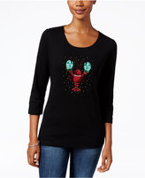 Karen Scott Petite Lobster Holiday Graphic Top, Only at Macy's