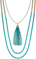 ABS by Allen Schwartz Gold-Tone Blue Popcorn Chain Two Row Necklace